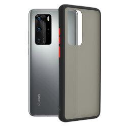 Husa Huawei P40 Pro Mobster Chroma Cu Butoane Si Margini Colorate - Negru