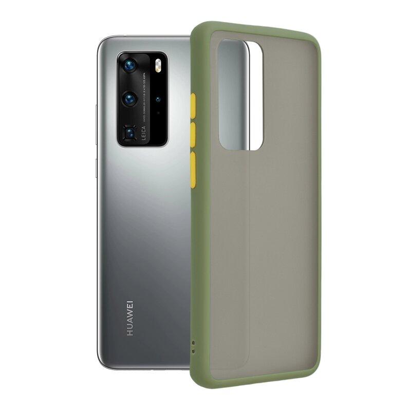 Husa Huawei P40 Pro Mobster Chroma Cu Butoane Si Margini Colorate - Verde Deschis