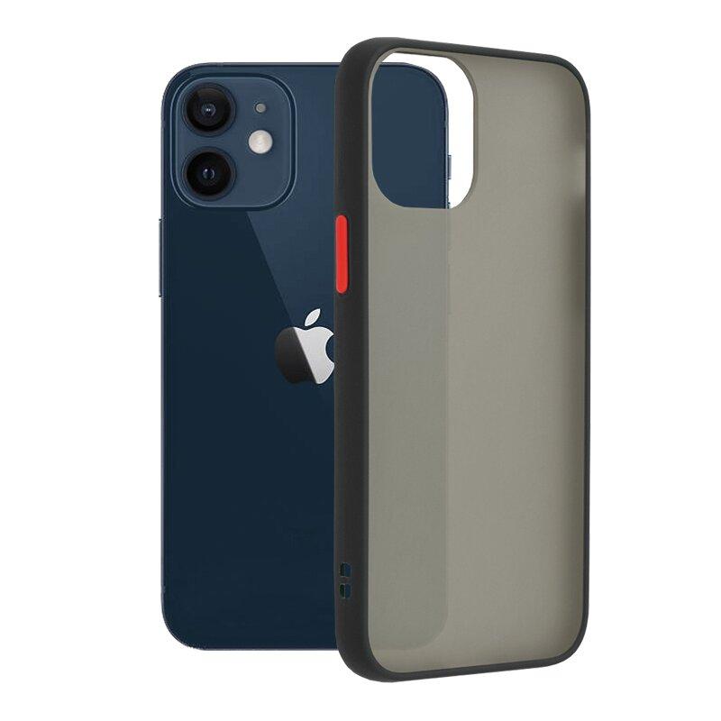 Husa iPhone 12 mini Mobster Chroma Cu Butoane Si Margini Colorate - Negru