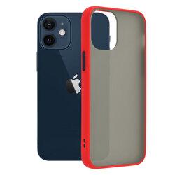 Husa iPhone 12 mini Mobster Chroma Cu Butoane Si Margini Colorate - Rosu