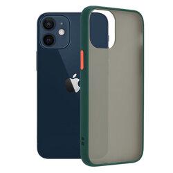 Husa iPhone 12 mini Mobster Chroma Cu Butoane Si Margini Colorate - Verde Inchis