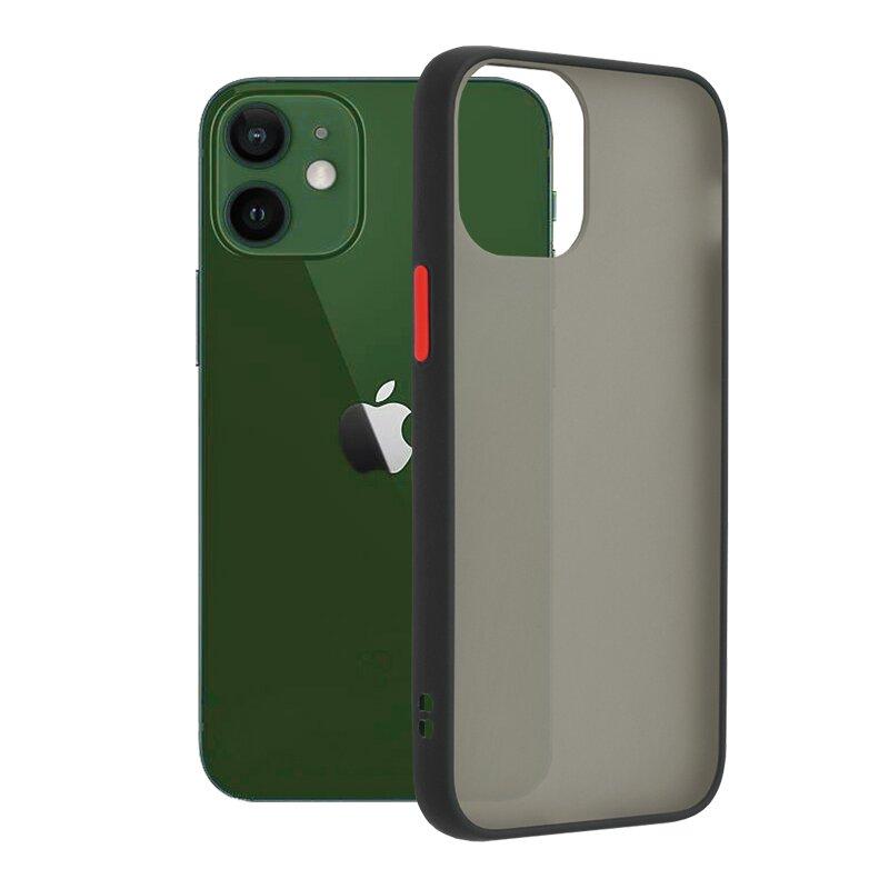 Husa iPhone 12 Mobster Chroma Cu Butoane Si Margini Colorate - Negru