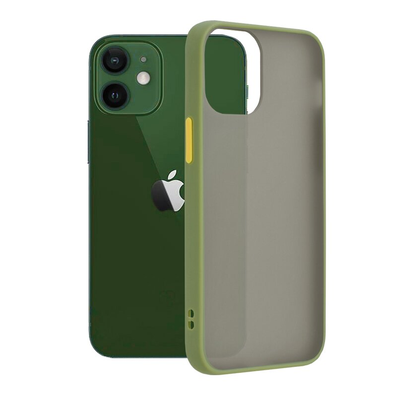 Husa iPhone 12 Mobster Chroma Cu Butoane Si Margini Colorate - Verde Deschis