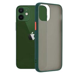 Husa iPhone 12 Mobster Chroma Cu Butoane Si Margini Colorate - Verde Inchis