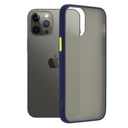 Husa iPhone 12 Pro Max Mobster Chroma Cu Butoane Si Margini Colorate - Albastru