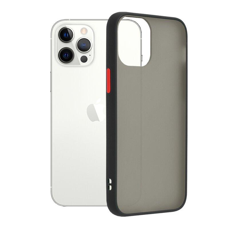 Husa iPhone 12 Pro Mobster Chroma Cu Butoane Si Margini Colorate - Negru