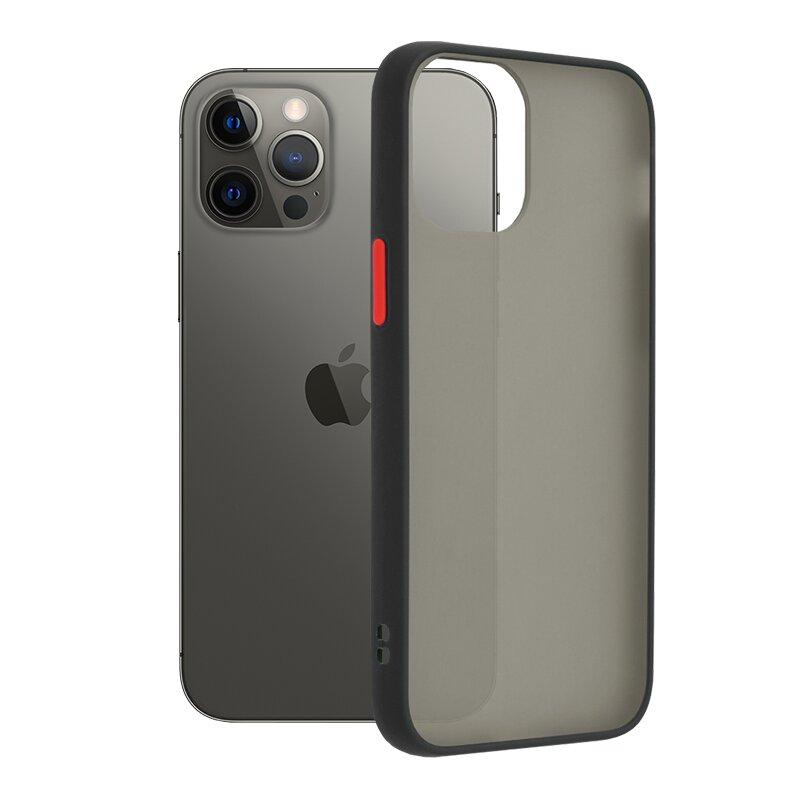 Husa iPhone 12 Pro Max Mobster Chroma Cu Butoane Si Margini Colorate - Negru