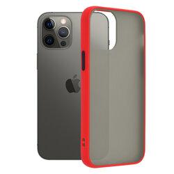 Husa iPhone 12 Pro Max Mobster Chroma Cu Butoane Si Margini Colorate - Rosu