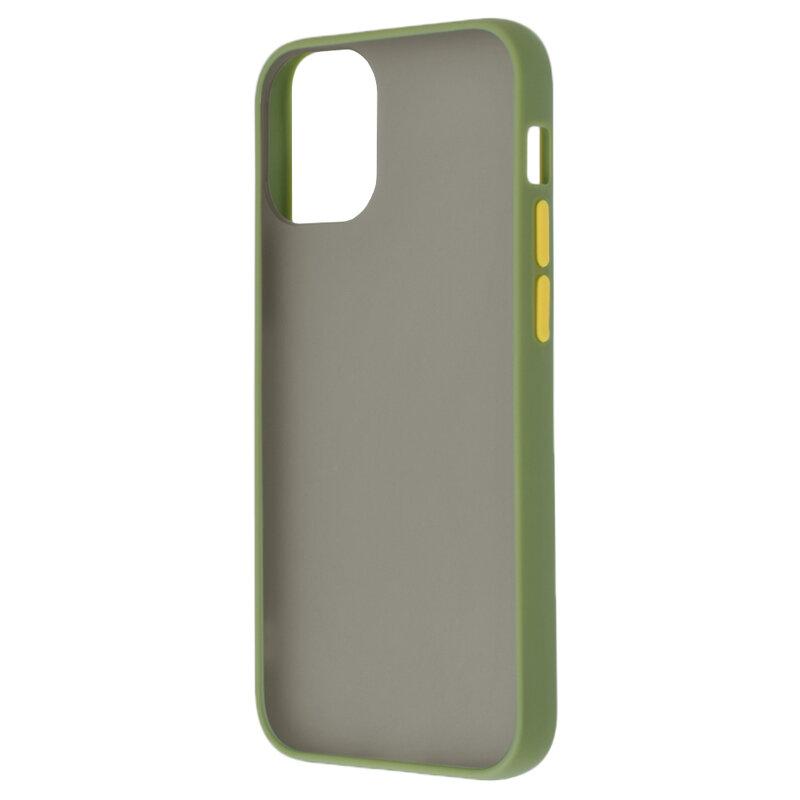 Husa iPhone 12 Pro Mobster Chroma Cu Butoane Si Margini Colorate - Verde Deschis