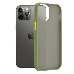 Husa iPhone 12 Pro Max Mobster Chroma Cu Butoane Si Margini Colorate - Verde Deschis