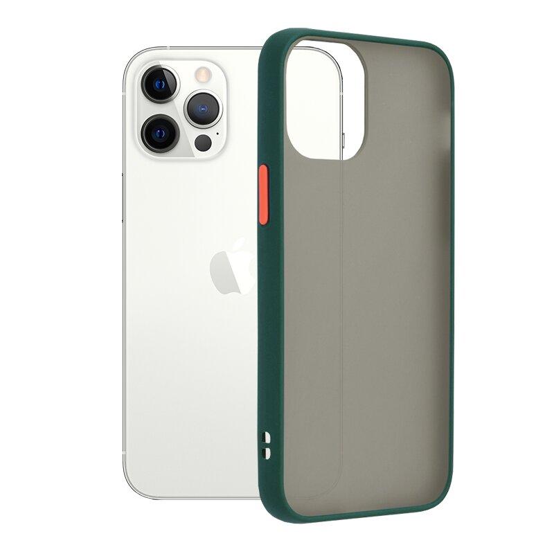 Husa iPhone 12 Pro Mobster Chroma Cu Butoane Si Margini Colorate - Verde Inchis