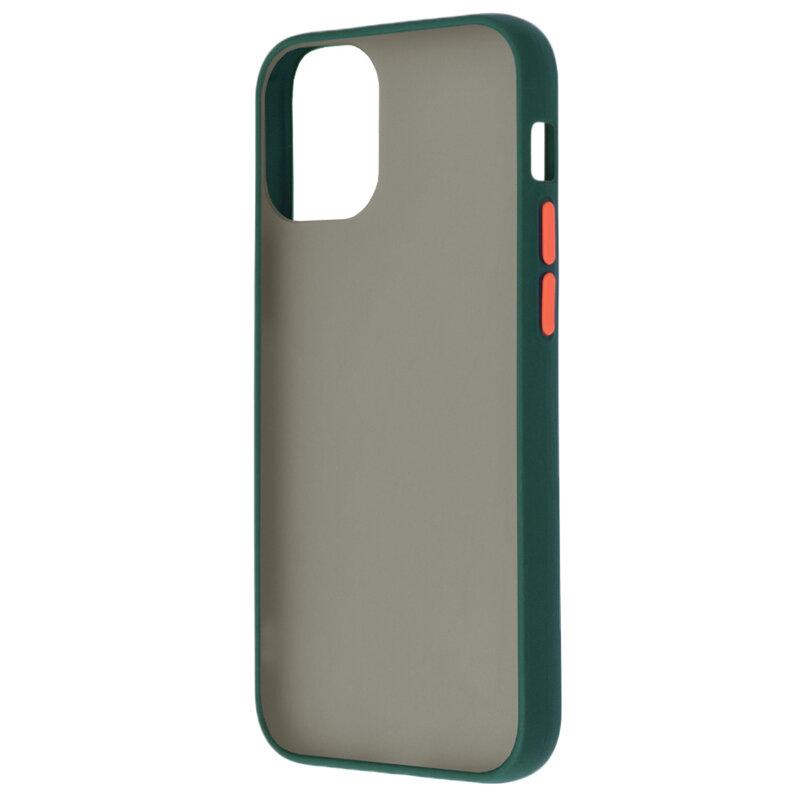 Husa iPhone 12 Pro Max Mobster Chroma Cu Butoane Si Margini Colorate - Verde Inchis