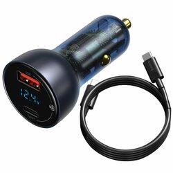 Incarcator auto Baseus Type-C PD3.0, USB QC4.0, 65W + cablu Type-C 100W, TZCCKX-0G
