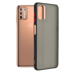 Husa Motorola Moto G9 Plus Mobster Chroma Cu Butoane Si Margini Colorate - Negru