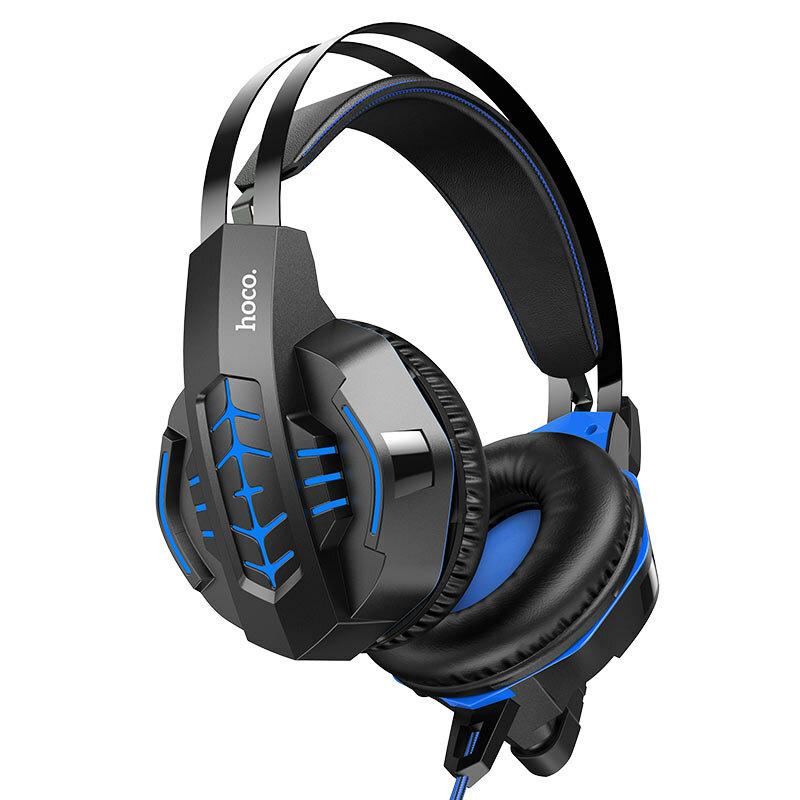 Casti gaming on-ear Hoco W102 cu microfon, Jack 3.5mm, USB, albastru
