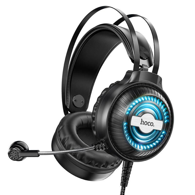 Casti gaming on-ear Hoco W101 cu microfon, Jack 3.5mm, USB, 2.4m, negru