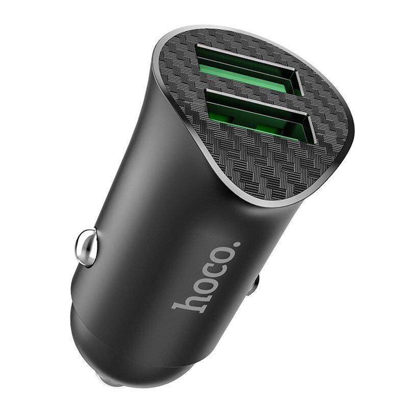 Incarcator auto Hoco Z39, 2x USB QC3.0, 18W + cablu Micro-USB 1m, negru