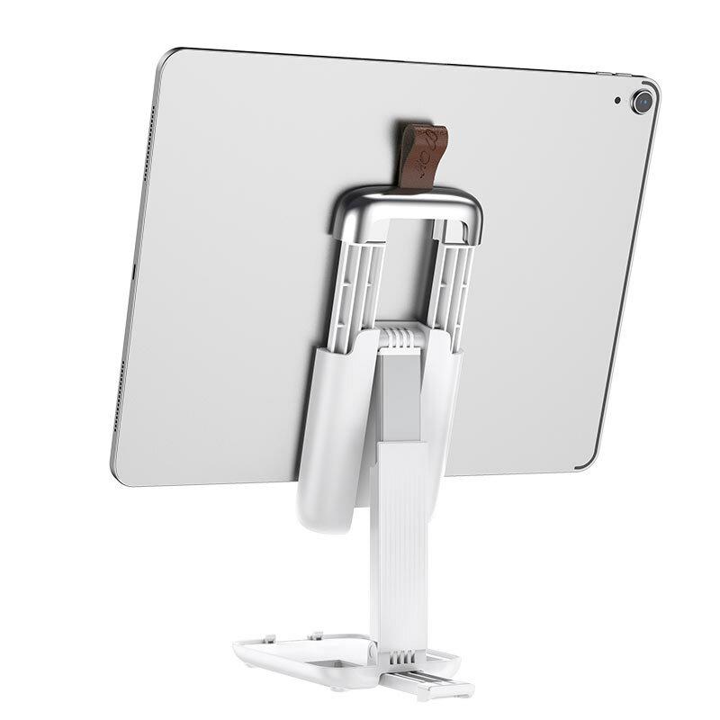 Suport telefon, tableta Birou Hoco S28, stand universal pliabil, alb