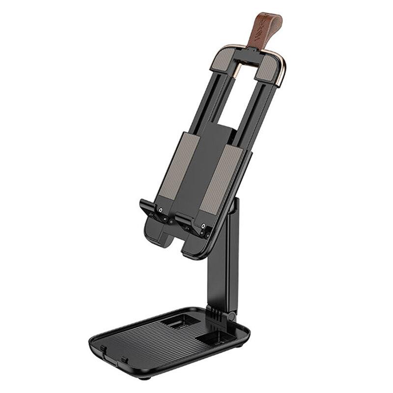 Suport telefon, tableta birou Hoco S28, stand universal pliabil, negru