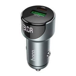 Incarcator auto Hoco Z42, USB QC3.0 18W, Type-C PD 20W, afisaj LED, gri
