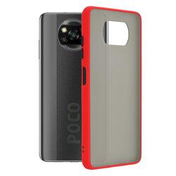 Husa Xiaomi Poco X3 NFC Mobster Chroma Cu Butoane Si Margini Colorate - Rosu
