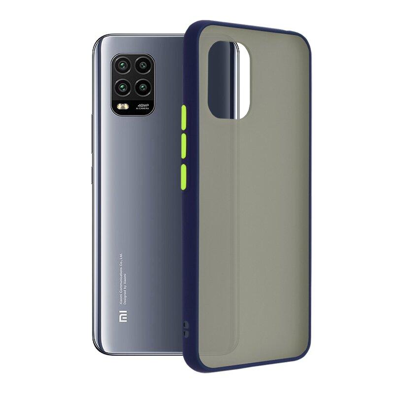 Husa Xiaomi Mi 10 Lite Mobster Chroma Cu Butoane Si Margini Colorate - Albastru