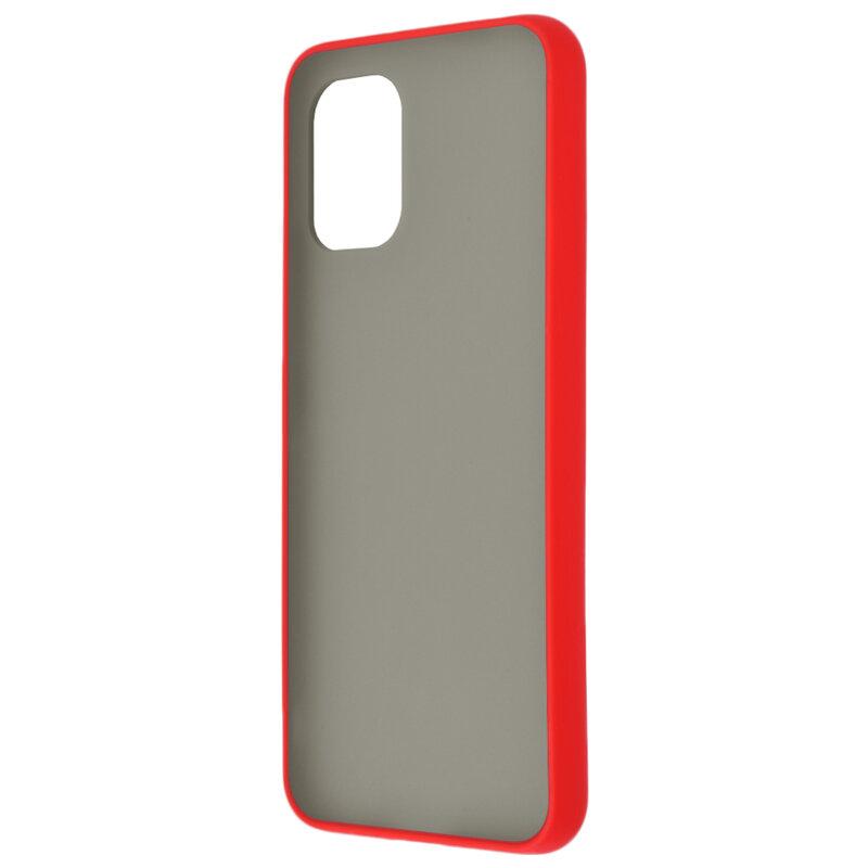 Husa Xiaomi Mi 10 Lite Mobster Chroma Cu Butoane Si Margini Colorate - Rosu