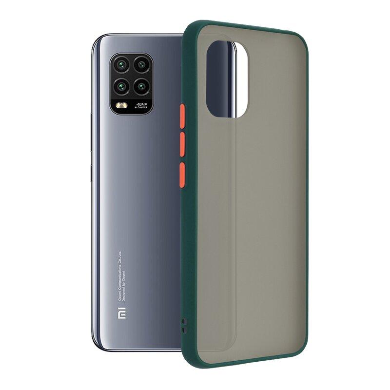 Husa Xiaomi Mi 10 Lite Mobster Chroma Cu Butoane Si Margini Colorate - Verde Inchis