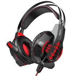Casti gaming on-ear Hoco W102 cu microfon, Jack 3.5mm, USB, rosu
