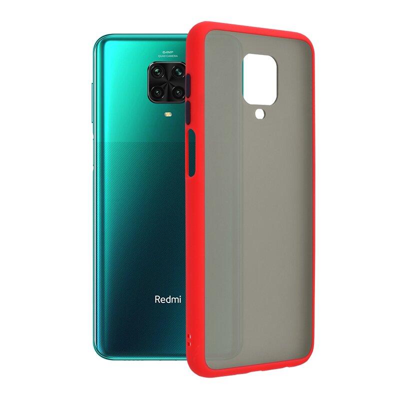 Husa Xiaomi Redmi Note 9 Pro Mobster Chroma Cu Butoane Si Margini Colorate - Rosu