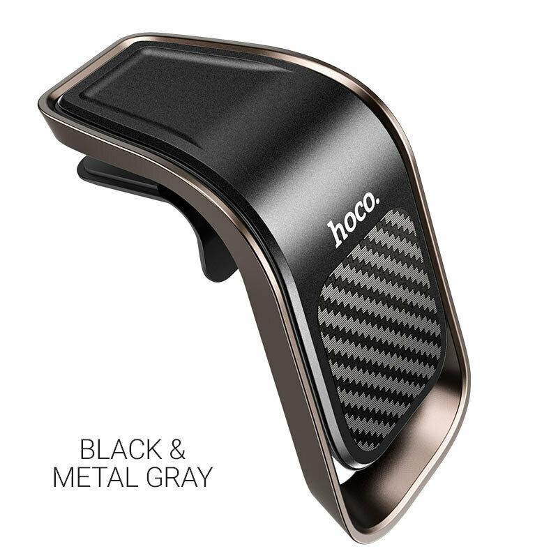 Suport telefon auto magnetic Hoco CA74, prindere grila de ventilatie, gri