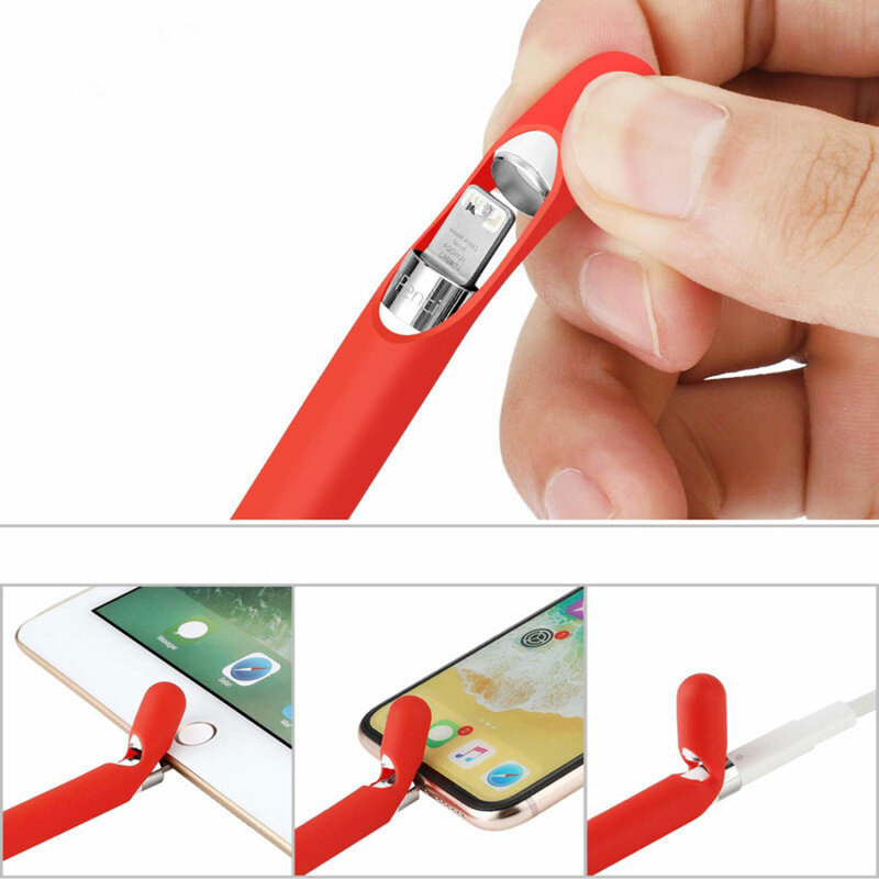 Husa Apple Pencil 1 Tech-Protect Smooth Din Silicon Flexibil Si Lavabil - Roz