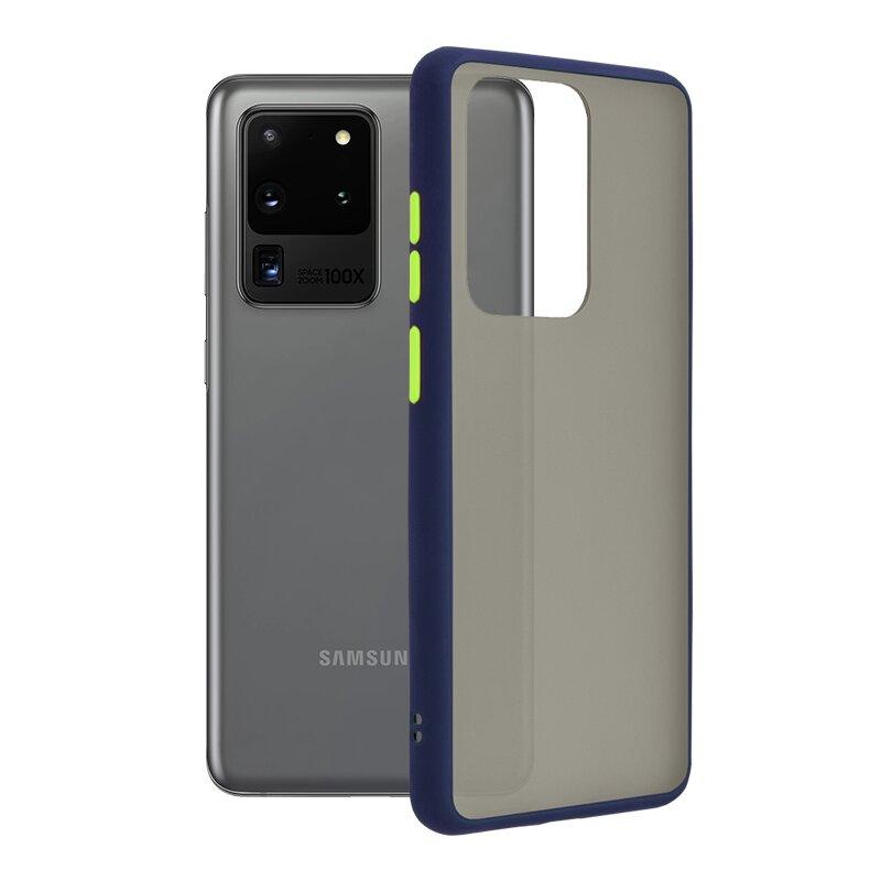 Husa Samsung Galaxy S20 Ultra 5G Mobster Chroma Cu Butoane Si Margini Colorate - Albastru