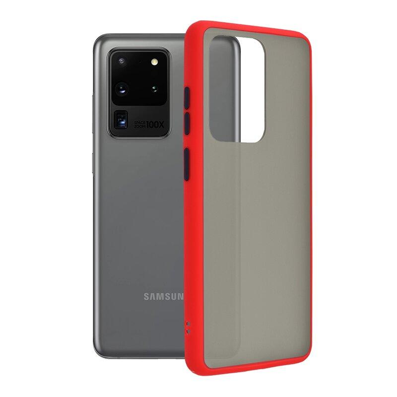 Husa Samsung Galaxy S20 Ultra 5G Mobster Chroma Cu Butoane Si Margini Colorate - Rosu