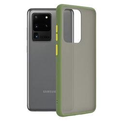 Husa Samsung Galaxy S20 Ultra 5G Mobster Chroma Cu Butoane Si Margini Colorate - Verde Deschis
