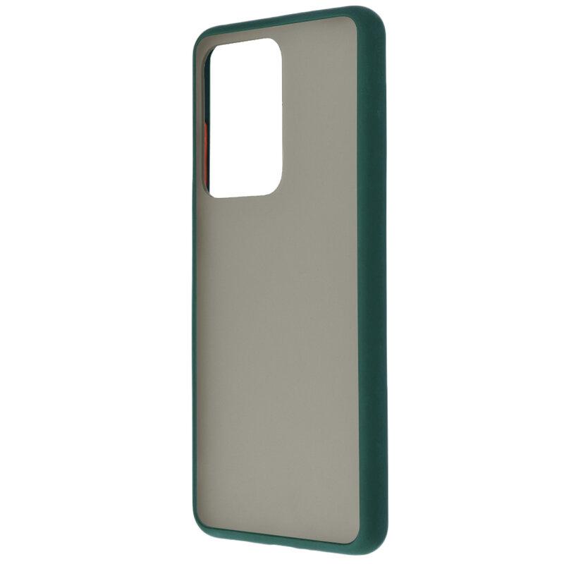 Husa Samsung Galaxy S20 Ultra 5G Mobster Chroma Cu Butoane Si Margini Colorate - Verde Inchis