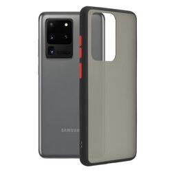 Husa Samsung Galaxy S20 Ultra 5G Mobster Chroma Cu Butoane Si Margini Colorate - Negru