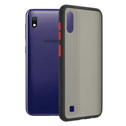 Husa Samsung Galaxy A10 Mobster Chroma Cu Butoane Si Margini Colorate - Negru