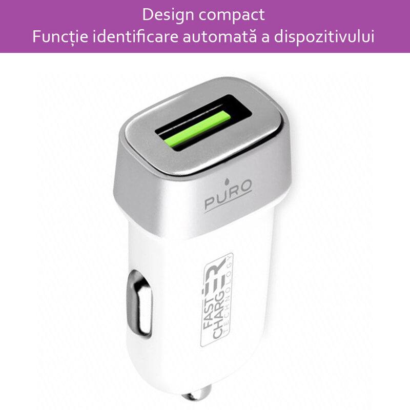 Incarcator Auto Puro USB 2.4A - Alb