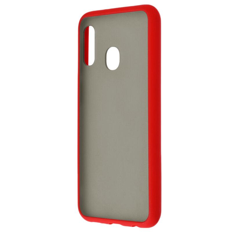 Husa Samsung Galaxy A20e Mobster Chroma Cu Butoane Si Margini Colorate - Rosu
