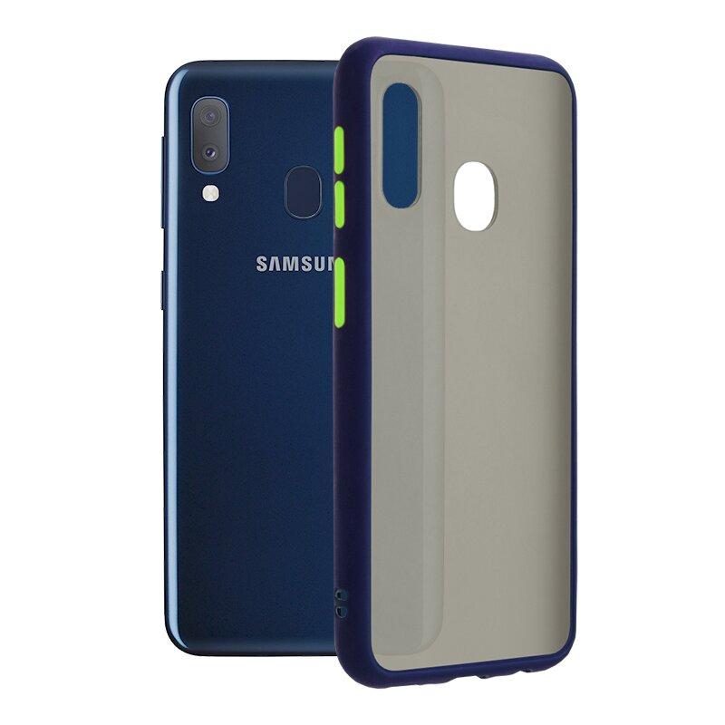 Husa Samsung Galaxy A20e Mobster Chroma Cu Butoane Si Margini Colorate - Albastru
