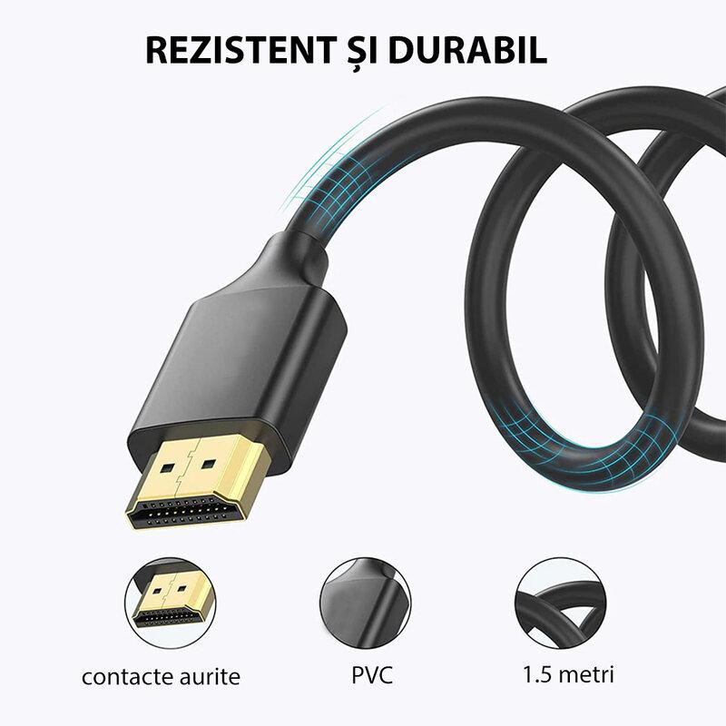 Cablu Video Digital Mobster HDMI La HDMI Cu Contacte Aurite Si Transmisie Full HD (1080P) / HD (720P) 1.5m - Negru