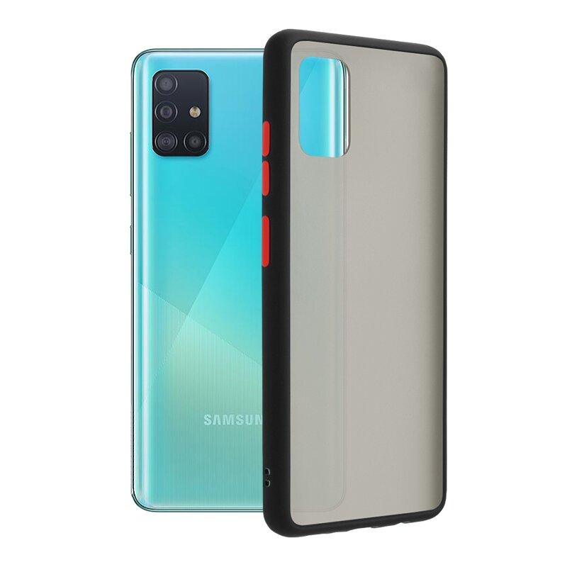 Husa Samsung Galaxy A51 Mobster Chroma Cu Butoane Si Margini Colorate - Negru