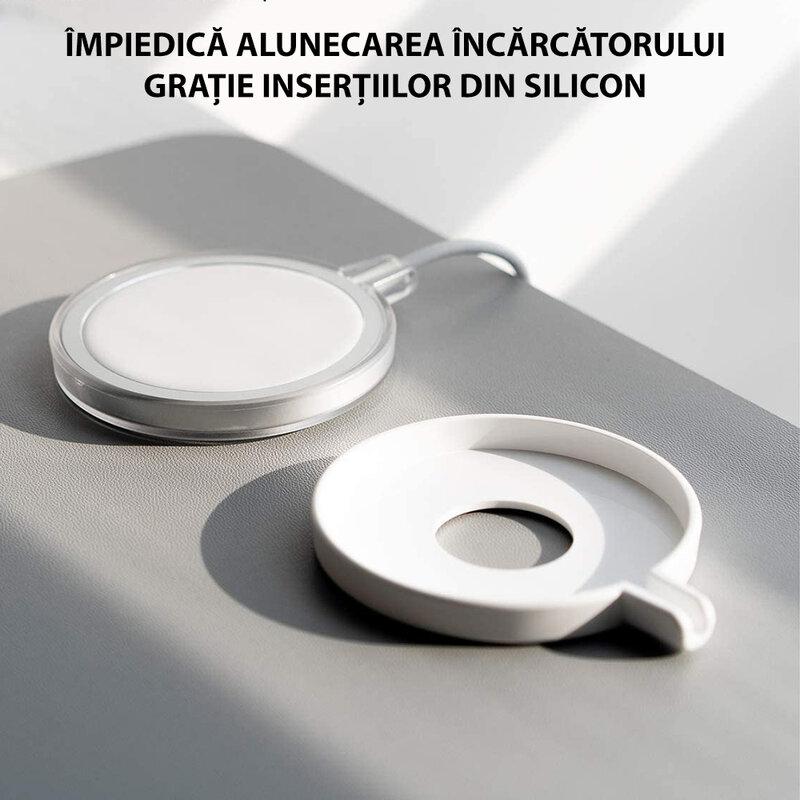 Husa incarcator iPhone 12 wireless MagSafe, Ringke, alb