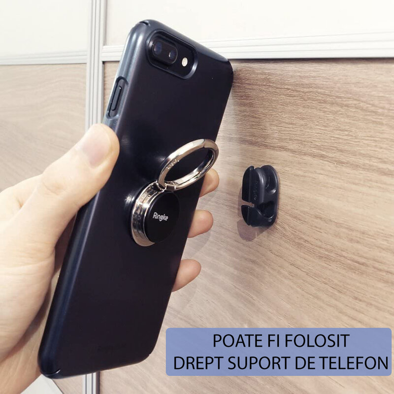 [Pachet 6x] Organizator cabluri Ringke, suport birou cu adeziv, negru