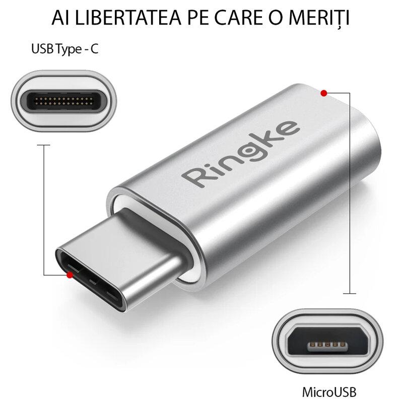 [Pachet 2x] Convertor Micro-USB la Type-C Ringke, argintiu