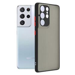 Husa Samsung Galaxy S21 Ultra 5G Mobster Chroma Cu Butoane Si Margini Colorate - Negru