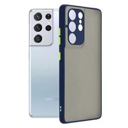 Husa Samsung Galaxy S21 Ultra 5G Mobster Chroma Cu Butoane Si Margini Colorate - Albastru