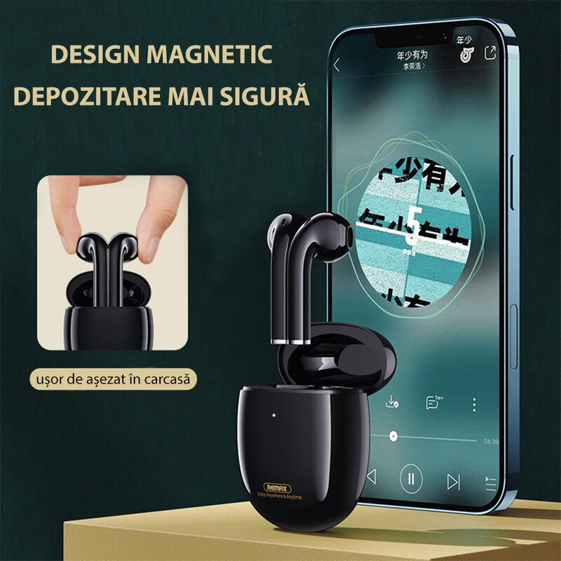 Casti wireless Remax TWS-23, earbuds, Bluetooth, negru