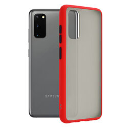 Husa Samsung Galaxy S20 5G Mobster Chroma Cu Butoane Si Margini Colorate - Rosu